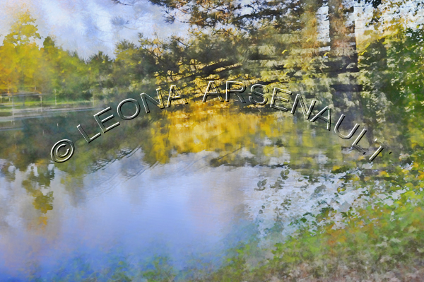 IMPRESSIONISTIC;LENS CREATION;DIGITAL ART;ABSTRACT;REFLECTIONS;FALL;TREES;BRIDGES;WATER;HORIZONTAL