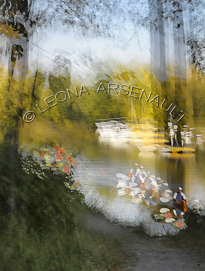 IMPRESSIONISTIC;LENS CREATION;WATER;FLOWERS;BOATS;ABSTRACT;VERTICAL