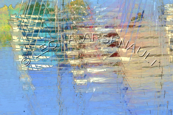 IMPRESSIONISTIC;LENS CREATION;BOATS;WATER;SAIL BOATS;ABSTRACT;HORIZONTAL