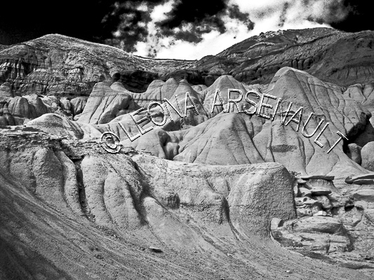 CANADA;ALBERTA;DRUMHELLER VALLEY;HOODOOS;ROCK FORMATION;SANDSTONE PILLARS;BLACK AND WHITE;LANDSCAPE;HORIZONTAL