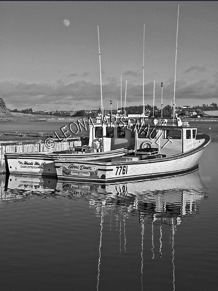 CANADA;PRINCE EDWARD ISLAND;QUEEN'S COUNTY;FRENCH RIVER;FISHING BOATS;BOATS;REFLECTIONS;WATER;NAUTICAL;BLACK AND WHITE;SEASCAPE;SCENIC;VERTICAL