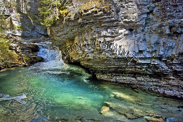 CANADA;ALBERTA;BANFF NATIONAL PARK;JOHNSTON CANYON;ROCKS;WATER;FLOW;FLUID;STREAMS;LIMESTONE;WATERSCAPE;HORIZONTAL