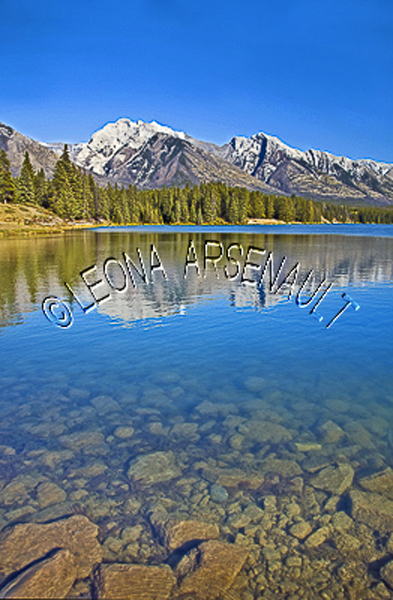 CANADA;ALBERTA;BANFF NATIONAL PARK;CANADIAN ROCKIES;ROCKY MOUNTAIN;JOHNSON LAKE;LAKES;WATER;ROCKS;REFLECTIONS;LANDSCAPE;SCENIC;WATERSCAPE;VERTICAL