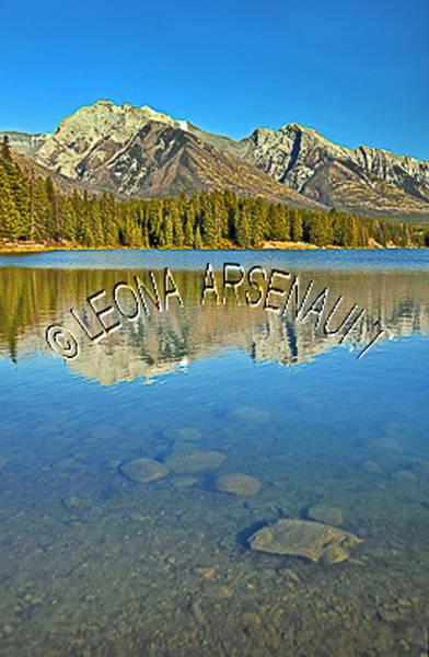 CANADA;ALBERTA;BANFF NATIONAL PARK;CANADIAN ROCKIES;ROCKY MOUNTAIN;JOHNSON LAKE;LAKE;ROCKS;WATER;REFLECTIONS;WATERSCAPE;LANDSCAPE;SCENIC;VERTICAL