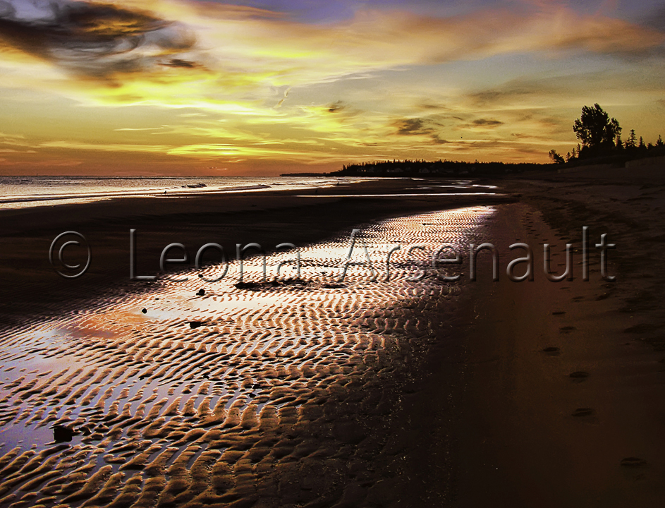 CANADA;NEW BRUNSWICK;PARLEE BEACH;BEACH;WATER;SAND;SUNRISE;DAWN;HORIZONTAL