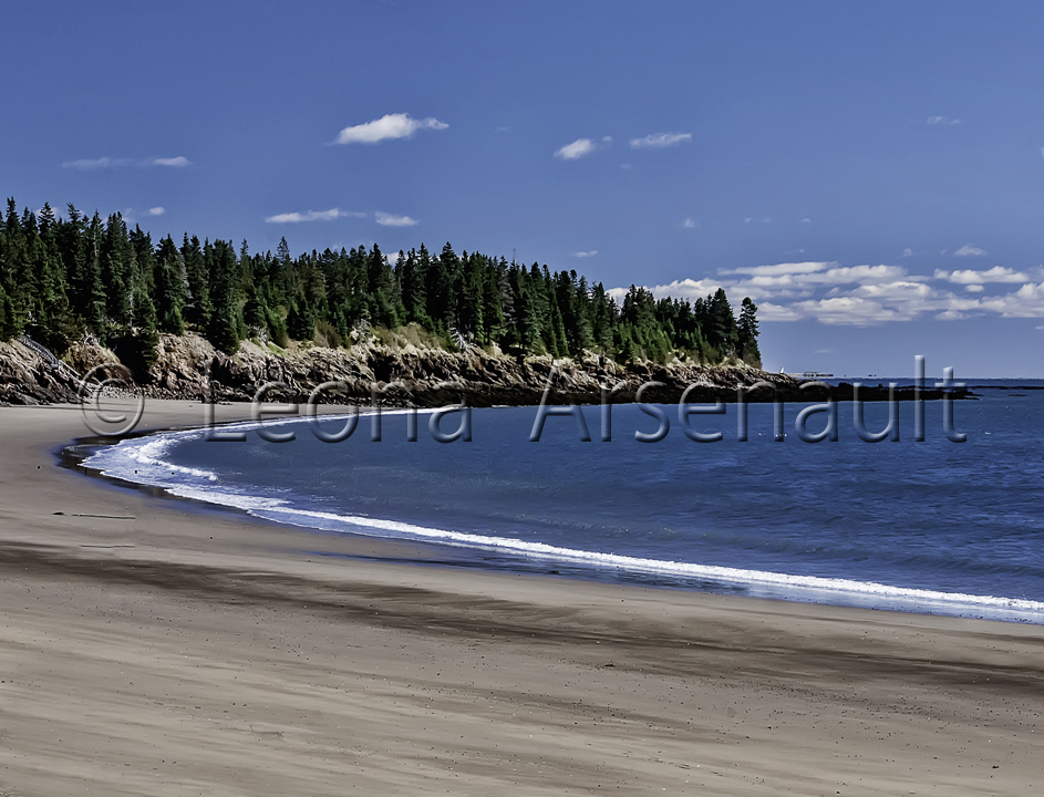 CANADA;NEW_BRUNSWICK;GRAND_MANAN;WATER;BEACH;HORIZONTAL;SAND;CLIFF;ROCKS;
