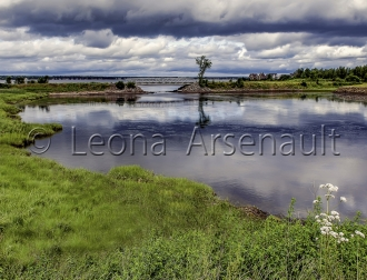 CANADA;NEW_BRUNSWICK;SHEDIAC;BRIDGE;WATER;CLOUDS;REFLECTION;HORIZONTAL