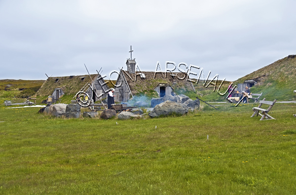 CANADA;NEWFOUNDLAND;L'ANSE AUX MEADOWS;UNESCO;WORLD HERITAGE SITE;NATIONAL HISTORIC SITE;VIKING LIFESTYLE;BUILDINGS;ARCHEOLOGY DISCOVERY;SUMMER;LANDSCAPE;SCENIC;HORIZONTAL;