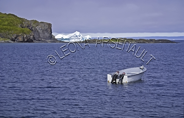 CANADA;NEWFOUNDLAND;ST LUNAIRE-GRIQUET;WATER;COASTAL;ICEBERG;CLIFF;DORY;BOAT;NAUTICAL;SUMMER;SEASCAPE;SCENIC;HORIZONTAL;
