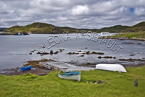 CANADA;NEWFOUNDLAND;ST LUNAIRE-GRIQUET;WATER;COASTAL;DORY;PIER;NAUTICAL;CLIFF;SUMMER;SEASCAPE;SCENIC;HORIZONTAL;