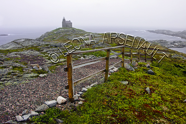 CANADA;NEWFOUNDLAND;ROSE BLANCHE-HARBOUR LE COU;LIGHTHOUSE;PATH;FENCE;WATER;CABOT STRAIT;LANDSCAPE;SCENIC;HORIZONTAL