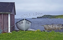 CANADA;NEWFOUNDLAND;ST_LUNAIRE_GRIQUET;WATER;COASTAL;DORY;BOAT;SHACK;SHED;BUILDI