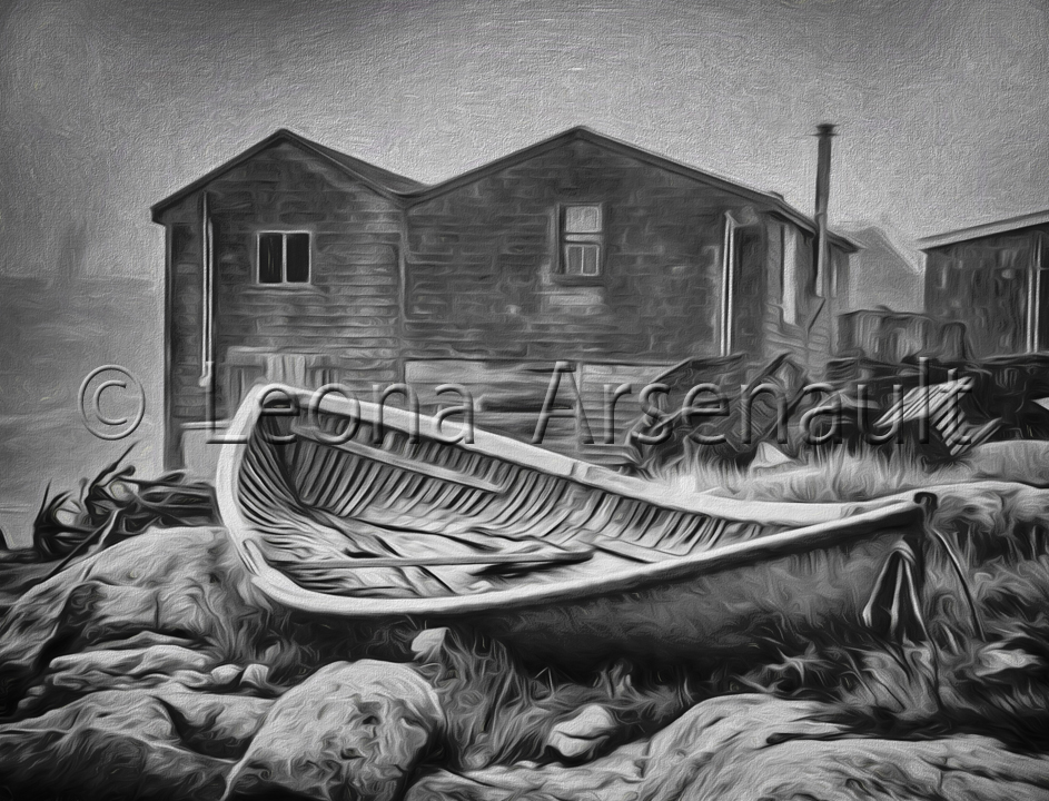 CANADA;NOVA SCOTIA;PEGGY'S COVE;BOAT;SHEDS;NAUTICAL;BLACK AND WHITE;ROCKS;HORIZONTAL;