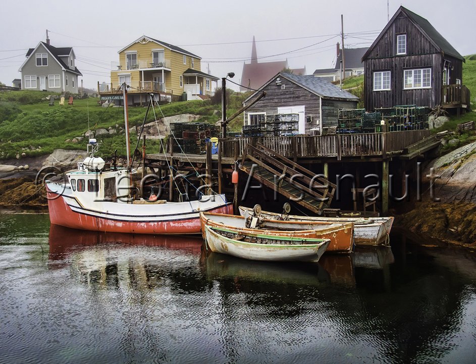 CANADA;NOVA SCOTIA;PEGGY'S COVE;BOATS;WATER;WHARF;NAUTICAL;HORIZONTAL;DORIES;