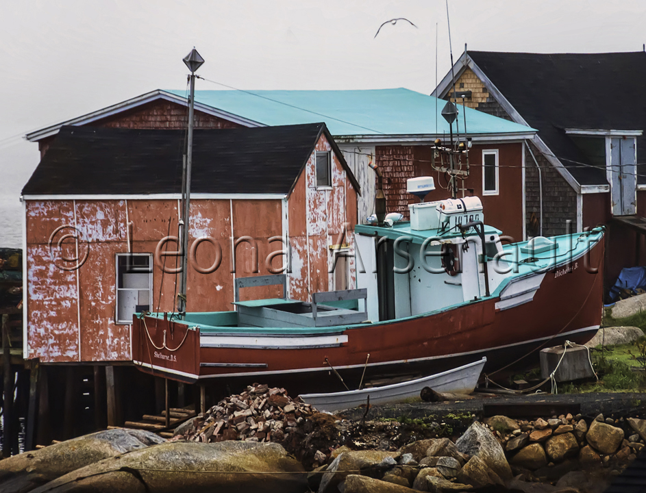 CANADA;NOVA SCOTIA;PEGGY'S COVE;BOATS;WATER;WHARF;NAUTICAL;HORIZONTAL;