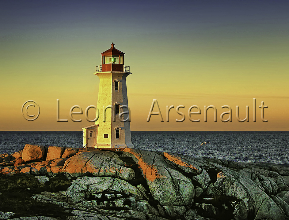 CANADA;NOVA SCOTIA;PEGGY'S COVE;LIGHTHOUSE;ROCKS;DAWN;WATER;NAUTICAL;HORIZONTAL;