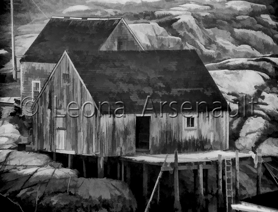 CANADA;NOVA SCOTIA;PEGGY'S COVE;WATER;NAUTICAL;HORIZONTAL;SHEDS;ROCKS;DORYS;BLACK AND WHITE;