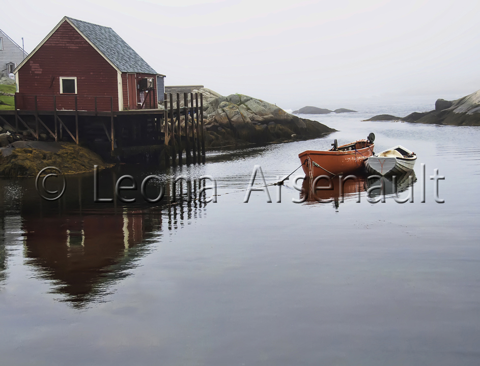 CANADA;NOVA SCOTIA;PEGGY'S COVE;WATER;NAUTICAL;HORIZONTAL;BOATS;DORIES;WHARF;