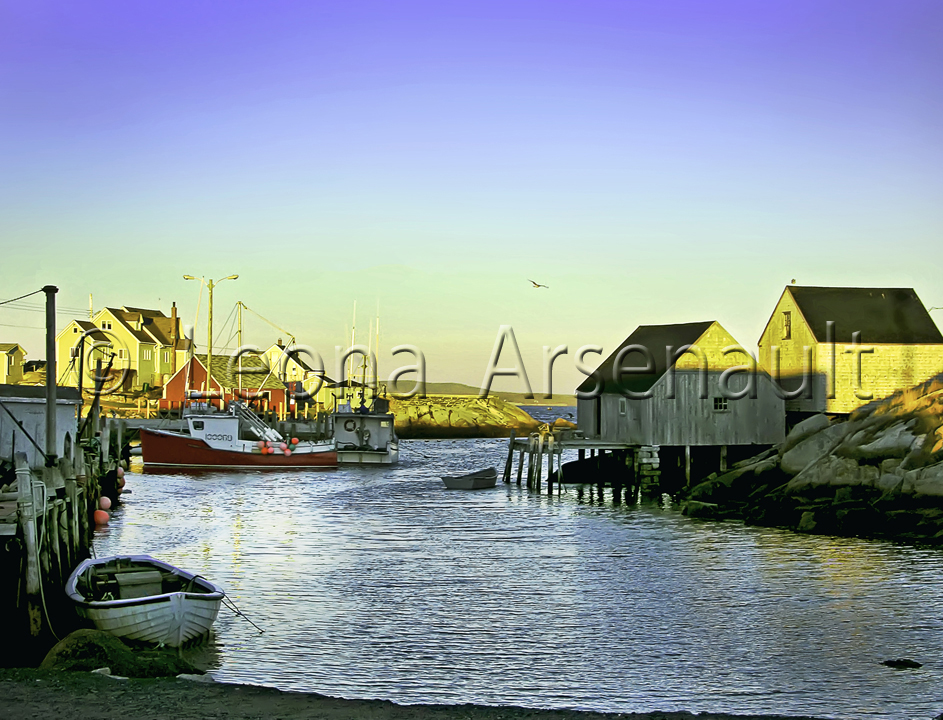 CANADA;NOVA SCOTIA;PEGGY'S COVE;WATER;NAUTICAL;VERTICAL;BOATS;DORIES;SHEDS;WHARF;