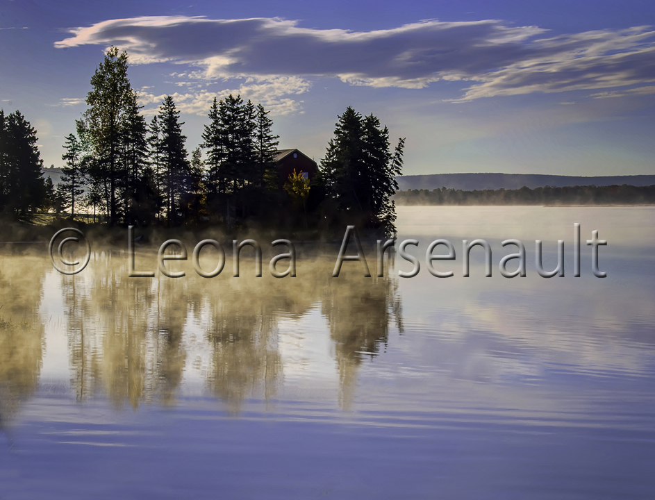 CANADA;NOVA SCOTIA;CAPE BRETON ISLAND; WATER;FOG;DAWN;REFLECTION;HORIZONTAL;SCENIC;WATERSCAPE;