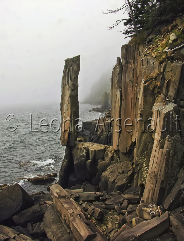 CANADA;NOVA SCOTIA;LONG ISLAND;CLIFFS;BASALT COLUMN;BASALT;ROCKS;BASALT ROCKS;FOG;VERTICAL;