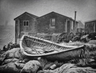CANADA;NOVA_SCOTIA;PEGGYS_COVE;BOAT;SHEDS;NAUTICAL;BLACK_AND_WHITE;ROCKS;HORIZON