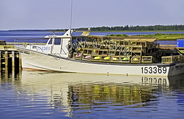 CANADA;PRINCE EDWARD ISLAND;PRINCE COUNTY;ABRAM-VILLAGE;FISHING BOATS;BUOYS;BOATS;LOBSTER TRAPS;TRAPS;PIERS;WHARFS;HARBOURS;NAUTICAL;WATER;REFLECTIONS;SUMMER;SEASCAPE;SCENIC;HORIZONTAL