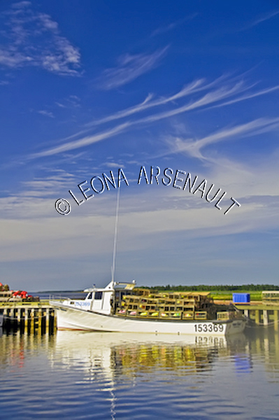 CANADA;PRINCE EDWARD ISLAND;PRINCE COUNTY;ABRAM-VILLAGE;FISHING BOATS;BUOYS;BOATS;LOBSTER TRAPS;TRAPS;PIERS;WHARFS;HARBOURS;NAUTICAL;WATER;REFLECTIONS;SUMMER;SEASCAPE;SCENIC;VERTICAL