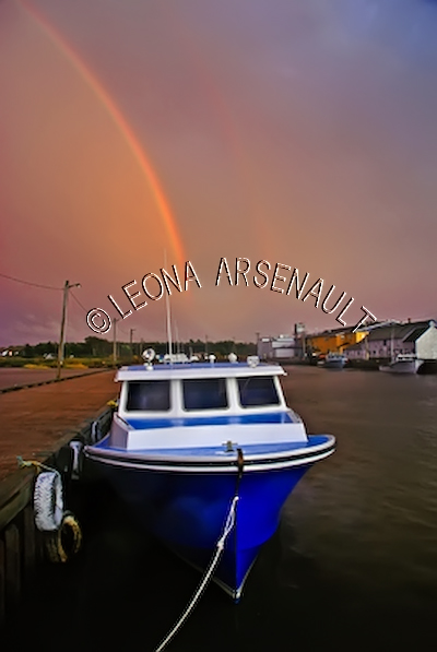 CANADA;PRINCE EDWARD ISLAND;PRINCE COUNTY;ABRAM-VILLAGE;FISHING BOAT;BOAT;PIER;WHARF;HARBOUR;RAINBOW;NAUTICAL;WATER;SUMMER;SEASCAPE;SCENIC;VERTICAL