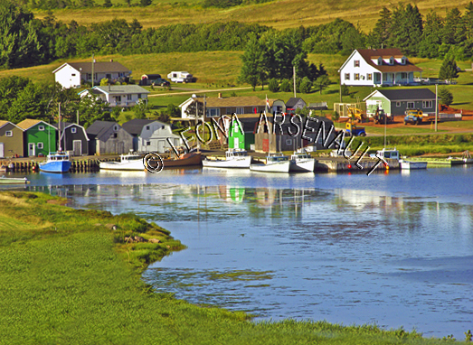 CANADA;PRINCE EDWARD ISLAND;QUEEN'S COUNTY;FRENCH RIVER;BOATS;FISHING BOATS;WATER;REFLECTION;SOUTHWEST RIVER;SUMMER;NAUTICAL;WATERSCAPE;LANDSCAPE;SCENIC;HORIZONTAL