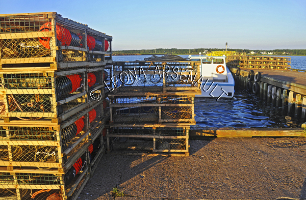 CANADA;PRINCE EDWARD ISLAND;PRINCE COUNTY;ABRAM-VILLAGE;FISHING BOATS;BOATS;SUMMER;LOBSTER TRAPS;TRAPS;NAUTICAL;SEASCAPE;HORIZONTAL