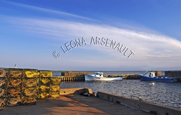 CANADA;PRINCE EDWARD ISLAND;PRINCE COUNTY;ABRAM-VILLAGE;FISHING BOATS;BOATS;LOBSTER TRAPS;TRAPS;;SUMMER;;NAUTICAL;WATER;SEASCAPE;SCENIC;HORIZONTAL
