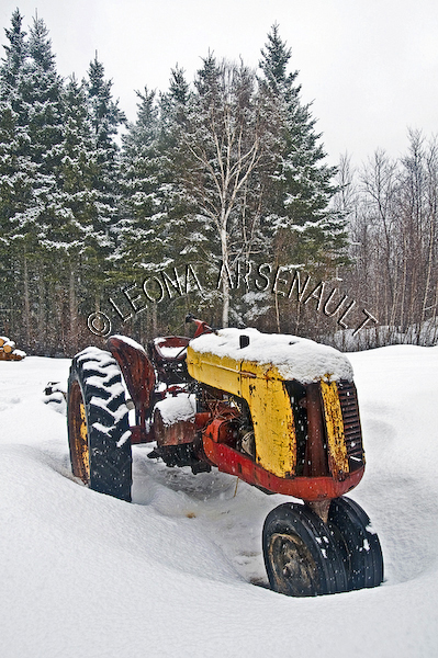 CANADA;PRINCE EDWARD ISLAND;PRINCE COUNTY;ABRAM-VILLAGE;WINTER;TRACTORS;FARM EQUIPMENT;WINTERSCAPE;VERTICAL;