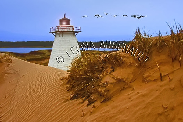 CANADA;PRINCE EDWARD ISLAND;KING'S COUNTY;PRINCE EDWARD ISLAND ;ST. PETERS LIGHTHOUSE;LIGHTHOUSES;SAND;WATER;SUMMER;BEACH;NAUTICAL;WATERSCAPE; LANDSCAPE;SSCENIC;HORIZONTAL