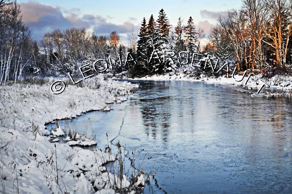 CANADA;PRINCE EDWARD ISLAND;PRINCE COUNTY;WELLINGTON;WATER;TREES;SNOW;REFLECTIONS;SCENIC;WINTER;
