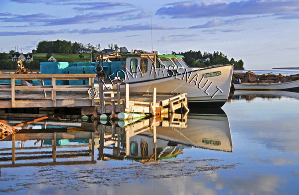 CANADA;PRINCE EDWARD ISLAND;QUEEN'S COUNTY;STANLEY BRIDGE;BOATS;SHEDS;PIERS;WHARFS;HARBOURS;SPRING;SEASCAPES;SCENIC;HORIZONTAL