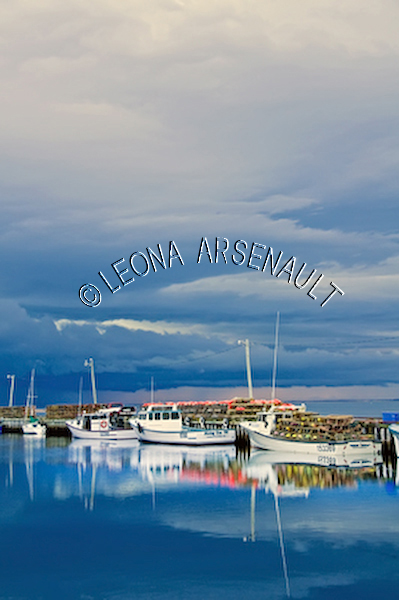 CANADA;PRINCE EDWARD ISLAND;PRINCE COUNTY;ABRAM-VILLAGE;WHARFS;HARBOURS;WATER;REFLECTIONS;PIERS;BOATS;FISHING BOATS;LOBSTER TRAPS;BUOYS;NAUTICAL;SEASCAPES;SCENIC;VERTICAL