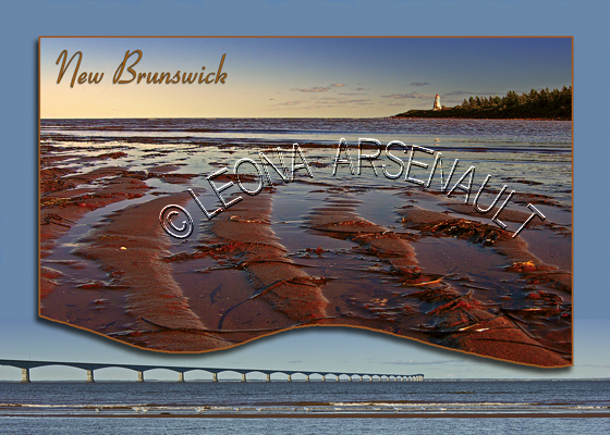 CANADA;NEW BURNSWICK;NEW BRUNSWICK POSTCARDS;NB POSTCARDS;CAPE JOURIMAIN;BEACH;LIGHTHOUSE;WATER;SHORE;SUNRISE;CONFEDERATION BRIDGE;POSTCARDS;