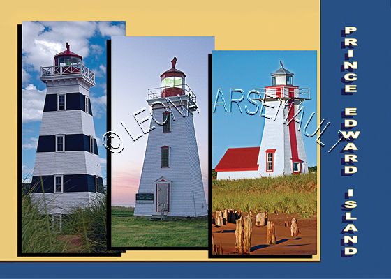 CANADA;PRINCE EDWARD ISLAND;PRINCE EDWARD ISLAND POSTCARDS;PEI POSTCARDS;WEST POINT LIGHTHOUSE;CAP-EGMONT LIGHTHOUSE;NEW LONDON LIGHTHOUSE;POSTCARDS;