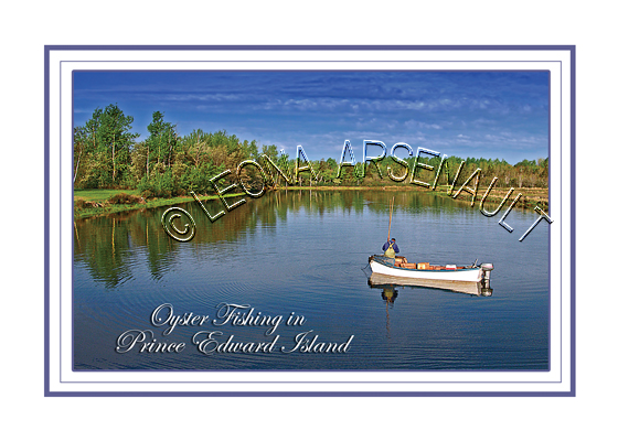 CANADA;PRINCE EDWARD ISLAND;PRINCE COUNTY;DAYS CORNER;BOAT;DORY;OYSTER FISHING;FISHING;WATER;GRAND RIVER;POSTCARD;PRINCE EDWARD ISLAND POSTCARD;PEI POSTCARD;
