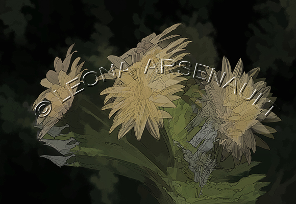 IMPRESSIONISTIC;LENS CREATION;FLOWERS;YELLOW;ABSTRACT;HORIZONTAL