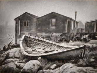 CANADA;NOVA_SCOTIA;PEGGYS_COVE;BOAT;DORY;SHEDS;HORIZONTAL;BLACK_AND_WHIT