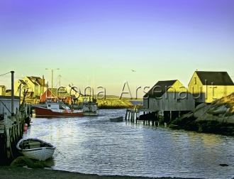 CANADA;NOVA_SCOTIA;PEGGYS_COVE;WATER;NAUTICAL;VERTICAL;BOATS;DORIES;SHEDS;WHARF;